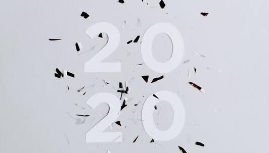 Picture of numbers 2020, shattered confetti